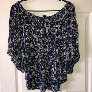 Forever 21 floral open shoulder cropped blouse 1x